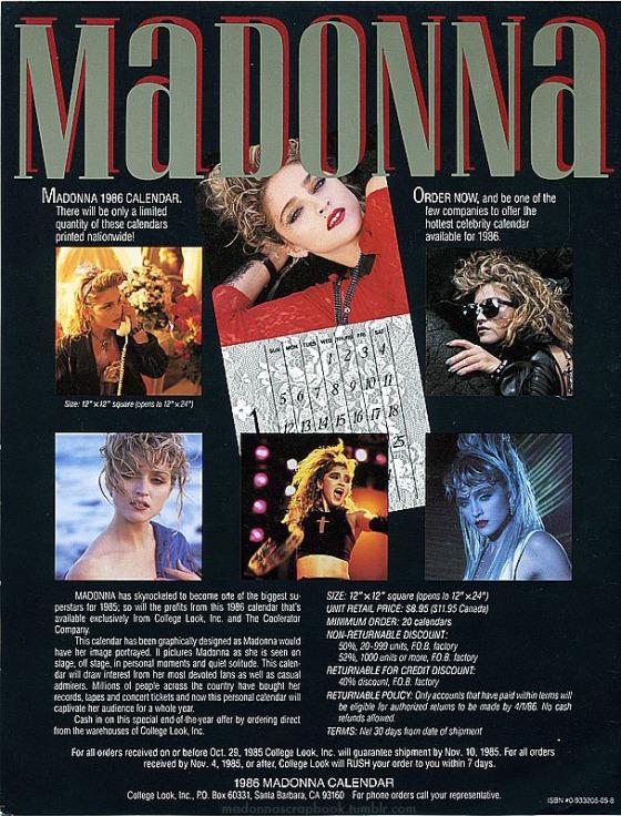 madonna 1986 calendar presssheet
