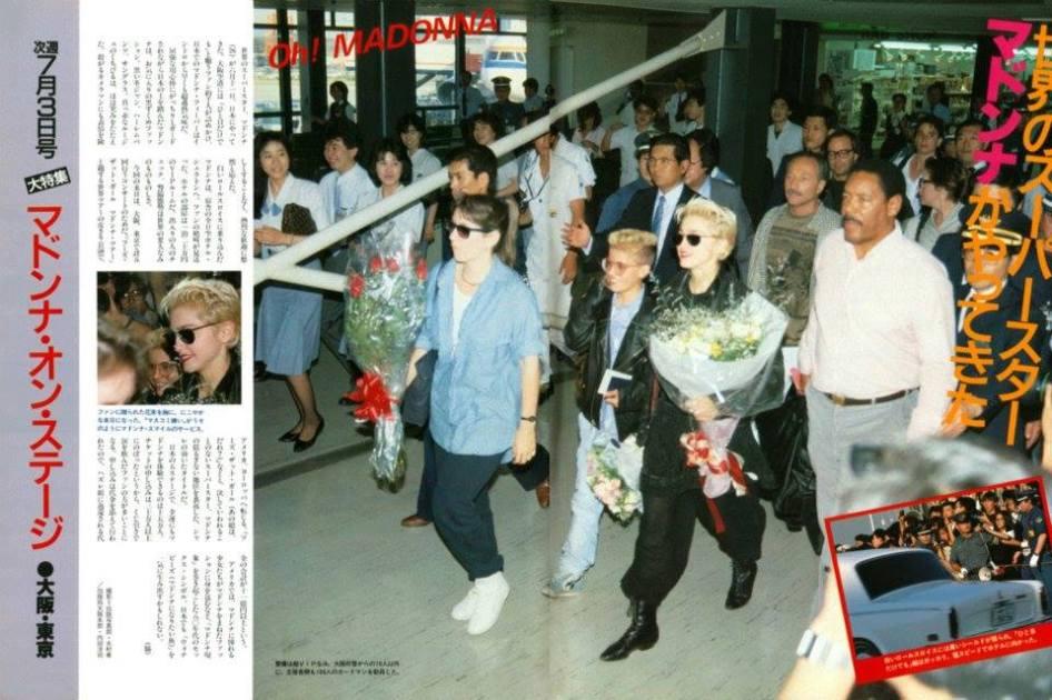 Madonna llegando a Japón
