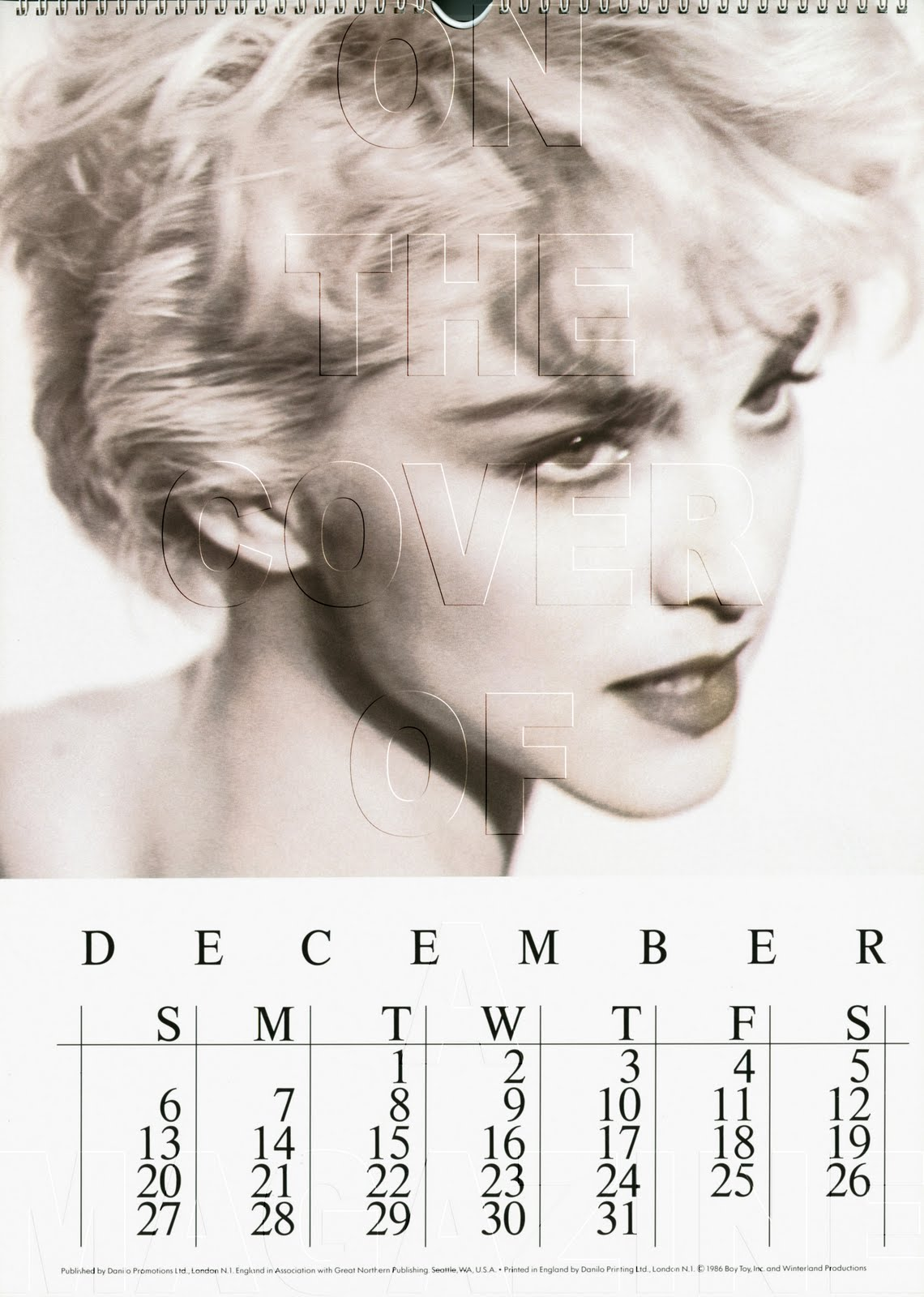 The Official Madonna 1987 Calendar December Herb Ritts Copy The M